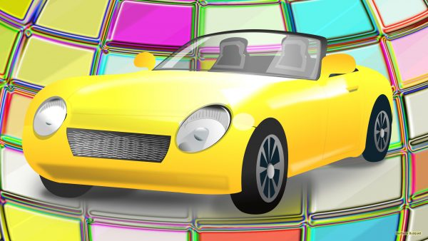 Yellow sports car on colorfull background
