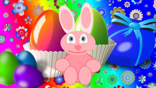 Colorful Easter wallpaper bunny flowers and eggs