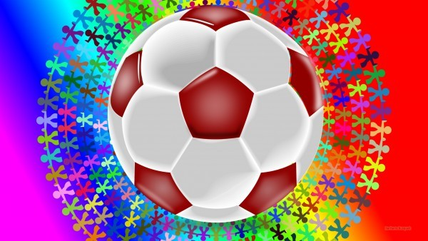 Colorful wallpaper with red white football and people