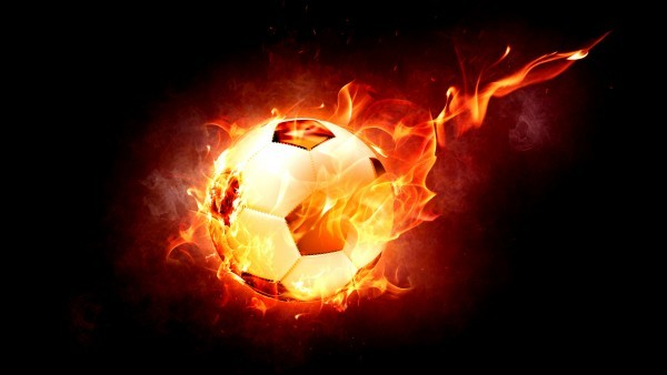 Dark wallpaper football on fire