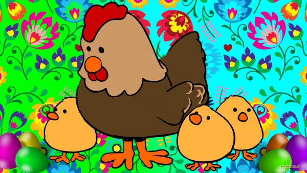 Easter wallpaper with chickens flowers and eggs