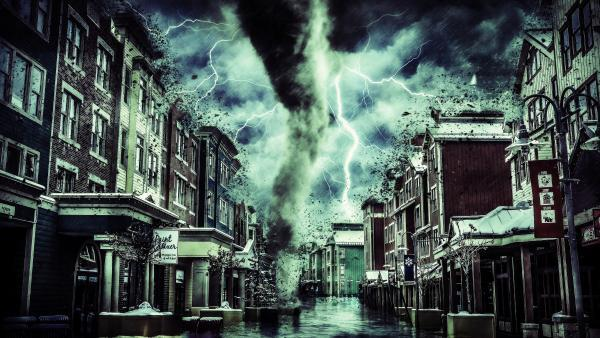 Fantasy wallpaper tornado in city