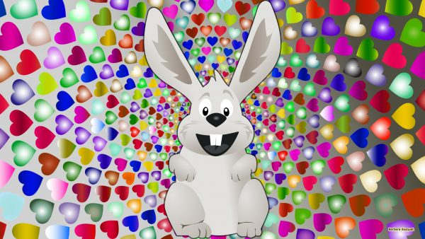 Gray wallpaper with Easter bunny and hearts