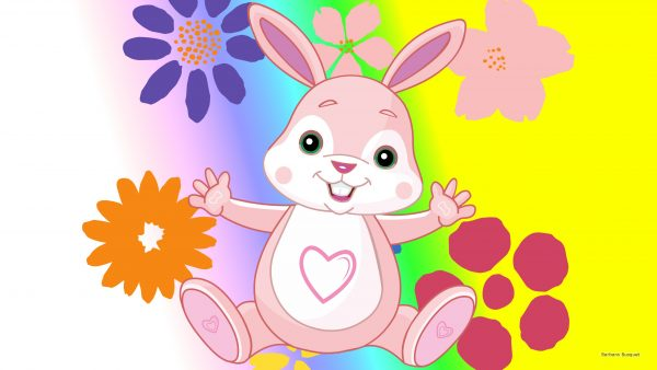 HD wallpaper with pink Easter bunny