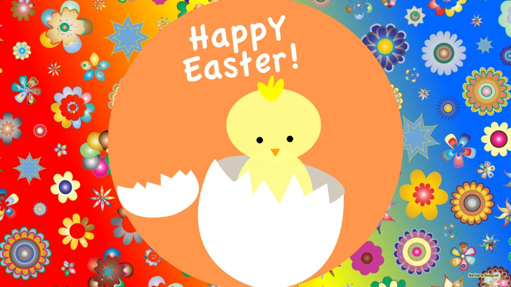 Happy Easter wallpaper with chicken and text