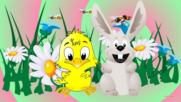 Light wallpaper with Easter bunny and chicken