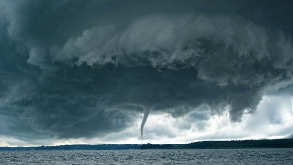 Tornado above lake