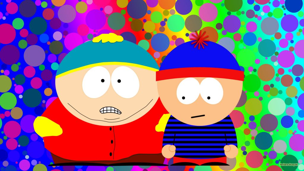 Colorful South Park wallpaper with Eric and Stan.