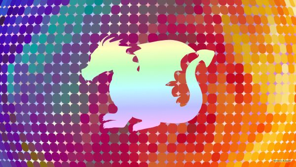 Pastel dragon on colorfull background