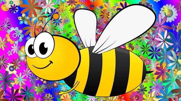 Colorful summer wallpaper with a bee