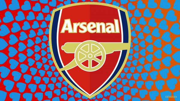 Arsenal football wallpaper with blue hearts