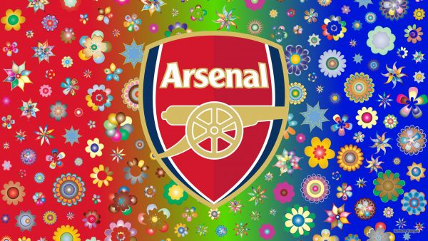 Arsenal logo wallpaper with flowers