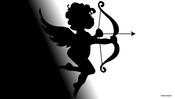 Cupido wallpaper in black and white.