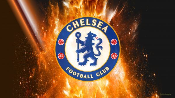 Dark Chelsea wallpaper with fire explosion and logo.