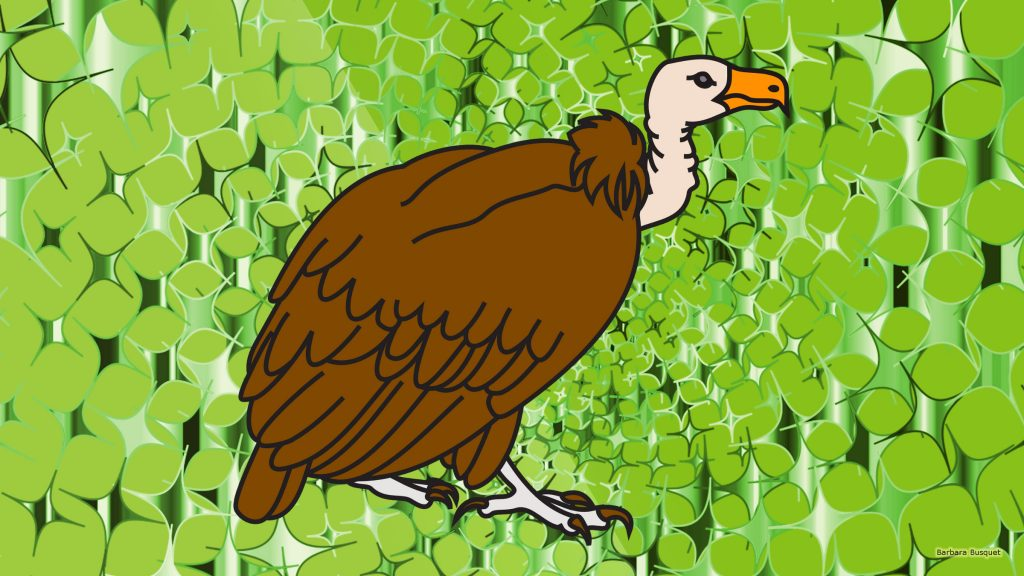 Green wallpaper with vulture