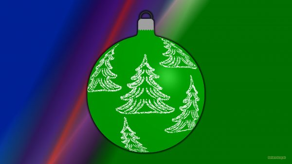 Abstract wallpaper with Christmas ball with trees.