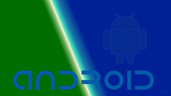 Blue green Android robot wallpaper