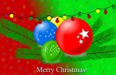 Christmas balls wallpaper red green