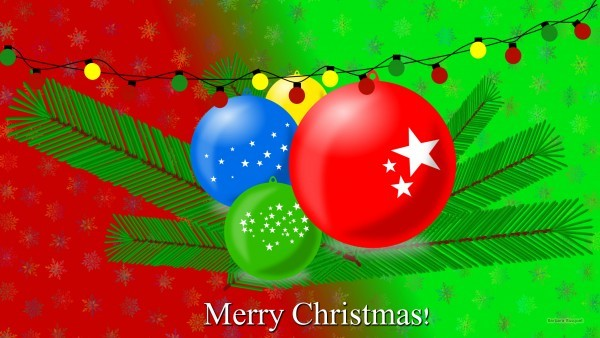 Christmas balls wallpaper red green
