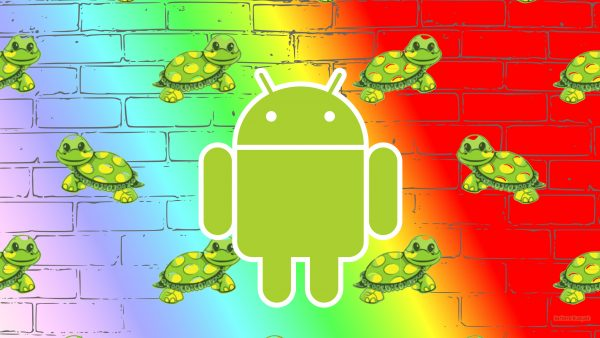 Colorful Android wallpaper with brick wall