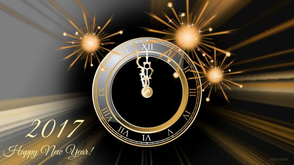 Dark Happy New Year wallpaper with clock