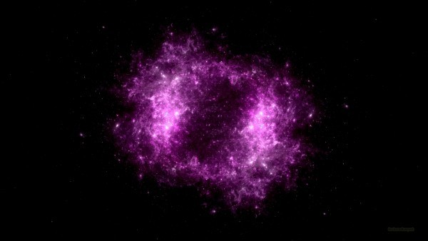 Dark pink universe with nebula
