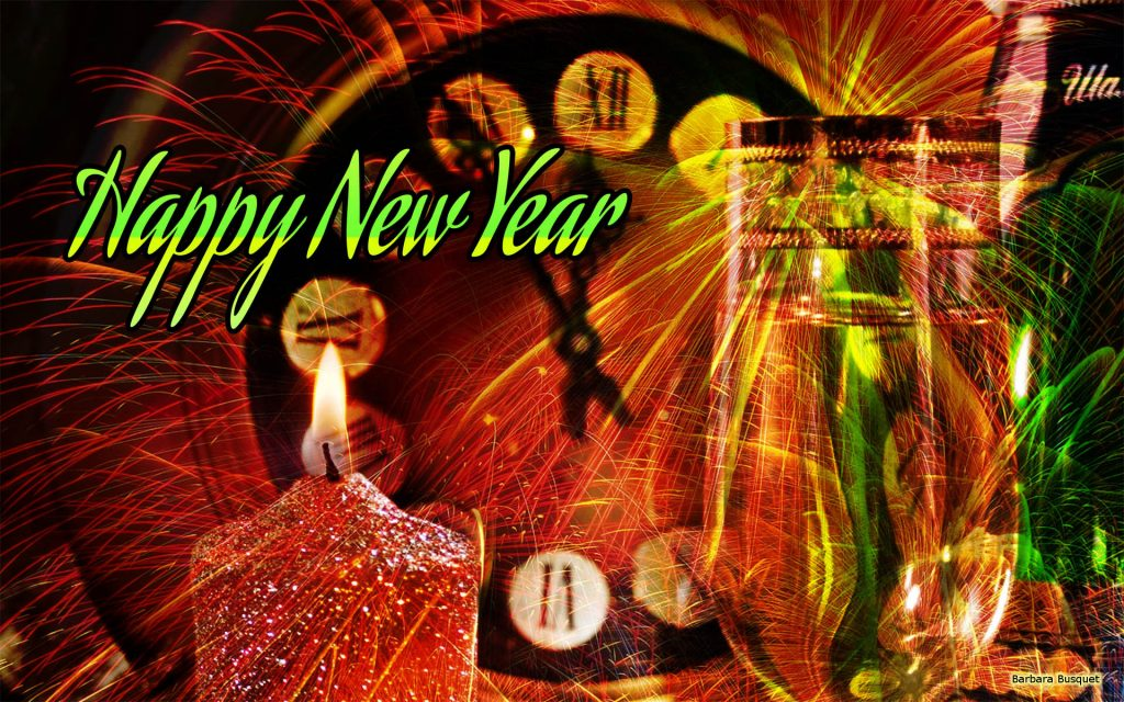 Green red New Year wallpaper with clock