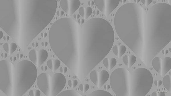 Grey wallpaper with heart pattern.