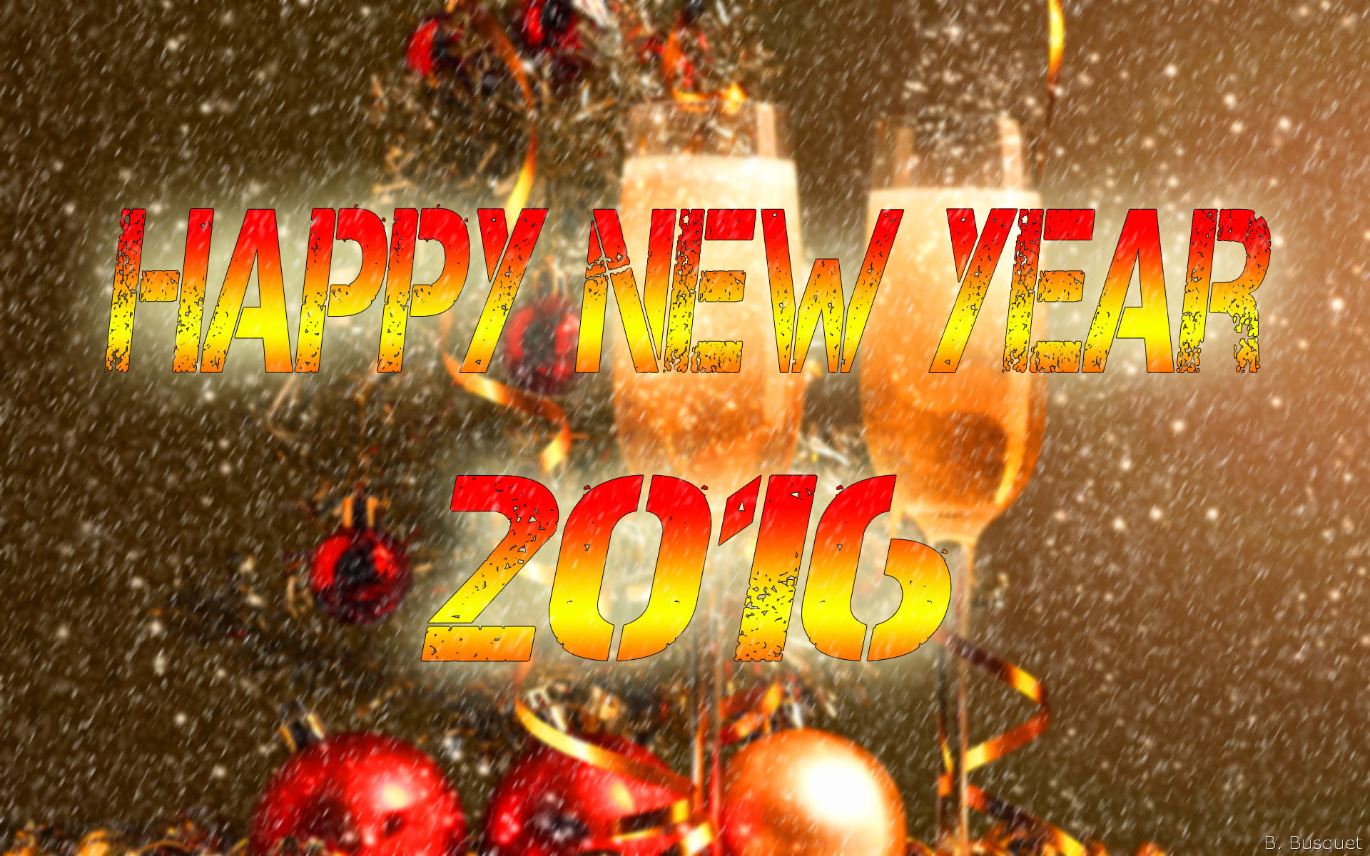 Happy New Year 2016 wallpaper with red, orange and yellow text, and ...