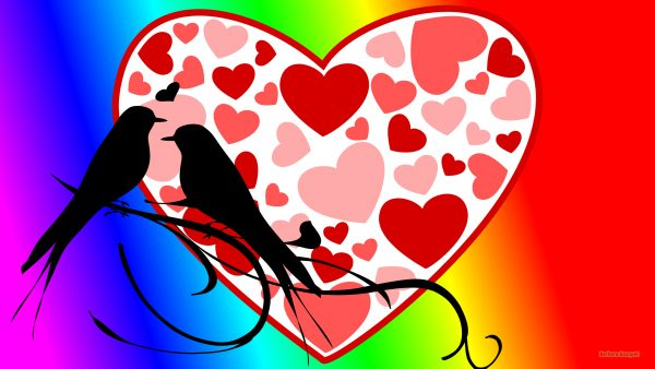Happy love wallpaper birds and heart