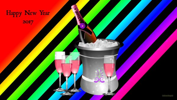 A bucket with ice and champagne.