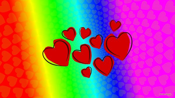 Colorful wallpaper with many hearts