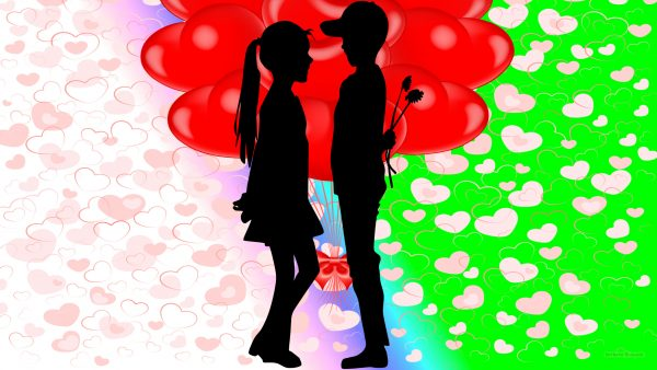Love wallpaper boy girl and balloons