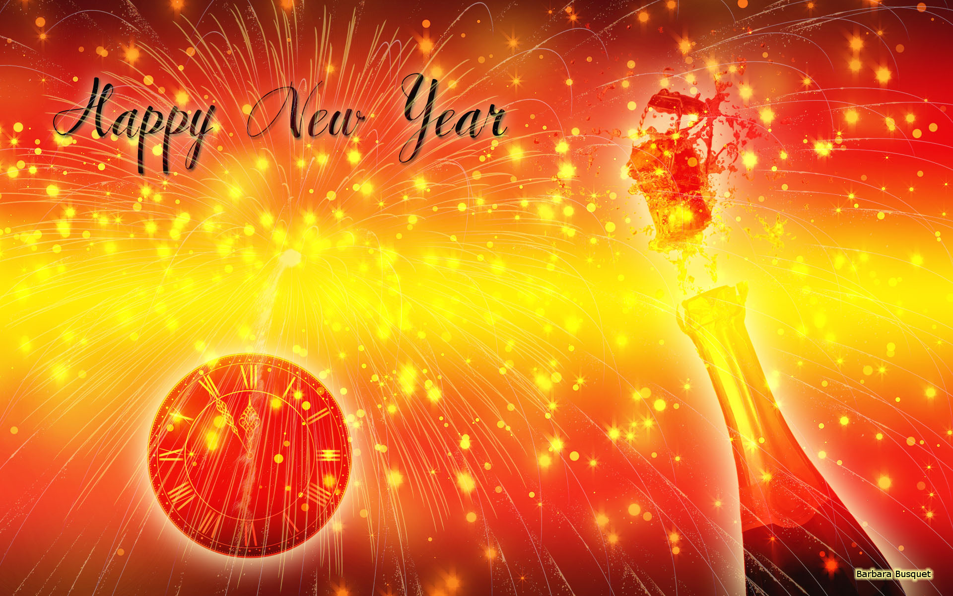 new years eve wallpaper in the colors red and yellow