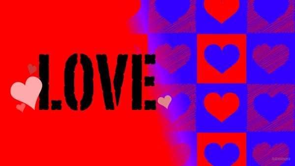 Red blue love wallpaper with hearts and text.