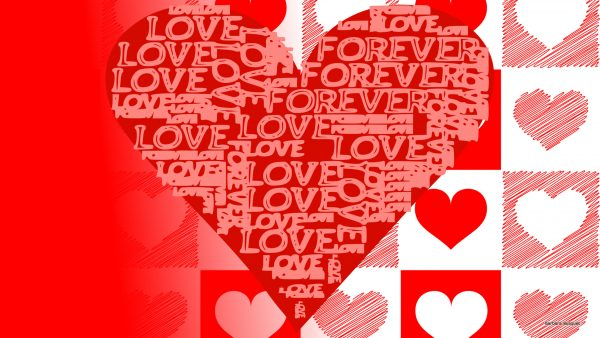 Red white HD wallpaper hearts and love text