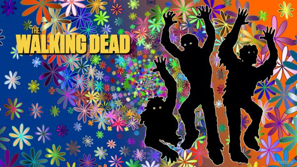 The Walking Dead wallpaper with zombies and flowers.