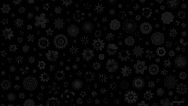 Black wallpaper with flowers.