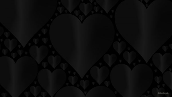 Black wallpaper with hearts.