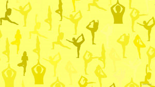 Light yellow wallpaper with sporting women.
