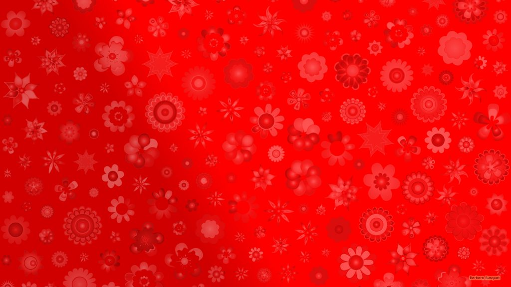 Red wallpaper with flowers.
