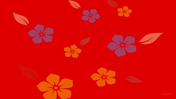 Simple red background with flowers