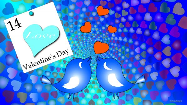 Valentines Day wallpaper with hearts and birds