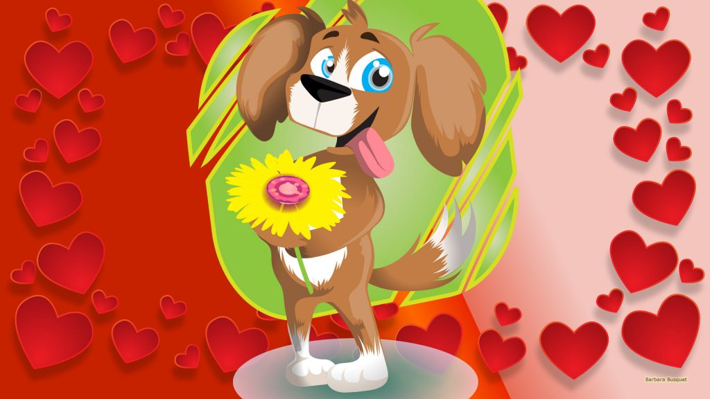 Valentinesday wallpaper dog with flowers