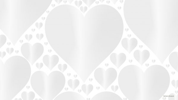 White wallpaper with hearts.