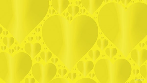 Dark yellow wallpaper with hearts.