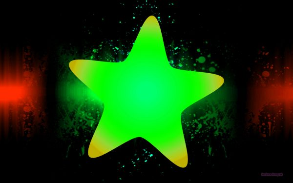 Abstract wallpaper with a big green star.