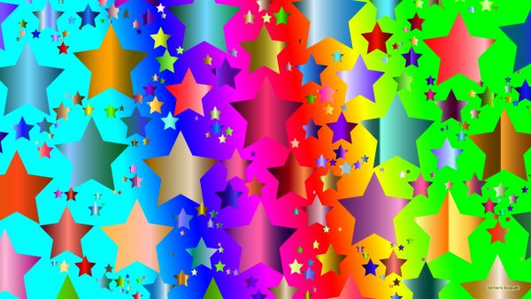 Colorful wallpaper with a star pattern.