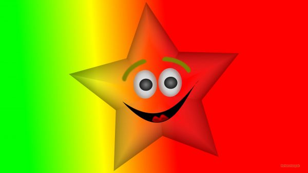 Red yellow green wallpaper with star with face