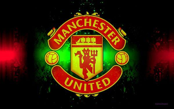 Black Manchester United logo wallpaper.